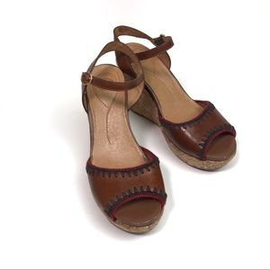 NURTURE Tango Cognac Leather Cork Wedge Sandals 7